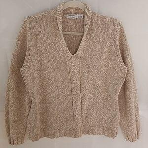 Liz Claiborne V-Neck Cream/Tan Sweater Sz XL